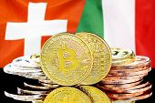Concept For Investors In Cryptocurrency And Blockchain Technology In The Switzerland And Italy. Bitc poster