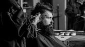 Barber With Hair Clipper Works On Hairstyle For Bearded Man Barbershop Background. Hipster Lifestyle poster