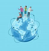 Metaphor Earth Globe Planet. Global Network, Communication. Vector Illustration poster
