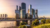 Moscow-city Skyscrapers At Sunset, Russia. Moscow-city Is Modern Business District At Moskva River.  poster
