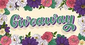 Giveaway Lettering. 3d Style, Vintage Illustration. Ad Promotion Contest Image. Win The Gift For Sha poster