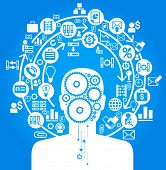 the concept of the information movement in modern business. silhouette of a man, ???????? and icons on the topic of business