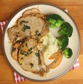 Pork steaks with sage, apple and creme fraiche sauce. Served with mashed potato & broccoli.