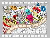 illustration of different cinema object in doodle style