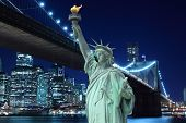 Brooklyn Bridge, tribute in light and The Statue of Liberty at Night Lights, New York City