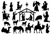 Christmas Crib Set Of Black Silhouettes. Nativity Scene Collection Famous Elements Christmas Holly N poster