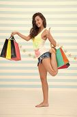 Happy Girl Show Thumb Up For Shopping Benefit. Happy Girl With Shopping Bags. Sale Benefit And Speci poster