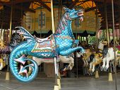 stock photo of carousel horse  - carousel horse flying dragon on a merry - JPG