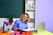 Happy Female Teacher. Student In Classroom. Smiling Teacher In The Classroom. Teacher. University St poster