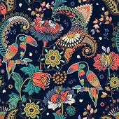 Fantasy Seamless Pattern. Decorative Floral Design For Fabric, Textile, Wrapping Paper, Card, Cover, poster
