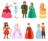 Renaissance Clothing Vector Woman Man Character In Medieval Fashion Vintage Dress Historical Royal C poster