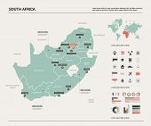 Vector Map Of South Africa (rsa). Country Map With Division, Cities And Capital Pretoria. Political  poster