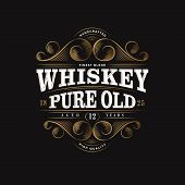 Whiskey Logo. Whiskey Pure Old Label. Premium Packaging Design. Lettering Composition And Curlicues  poster