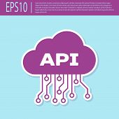 Retro Purple Cloud Api Interface Icon Isolated On Turquoise Background. Application Programming Inte poster