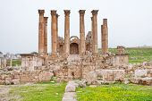 Corinthium Colonnade Of Artemis Temple In Ancient Town Jerash