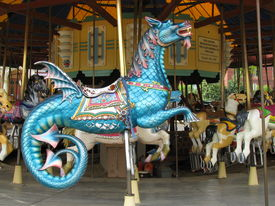 pic of carousel horse  - carousel horse flying dragon on a merry - JPG