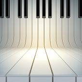 A 3d illustration of blank surface from piano keys. Blank template layout of music placard