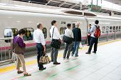 People Waiting For Shinkansen Bullet Train