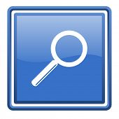 search blue glossy square web icon isolated