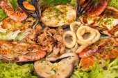 stock photo of hake  - Assorted seafood grilled and served on salad - JPG