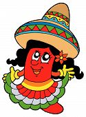 picture of jupe  - Cute mexican chili girl in skirt  - JPG