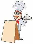 stock photo of chefs hat  - Chef with blank menu table  - JPG