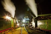 steam locomotives in depot at night, Kostolac, Serbia