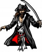 Pirate Standing With Sword And Hat Graphic Vector Illustration