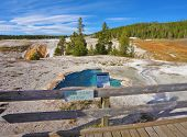 Yellowstone National Park. Famous fumaroles with hot water azure