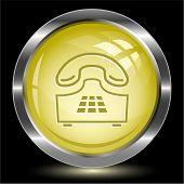 Push-button telephone. Internet button. Raster illustration.