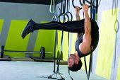 dip ring man workout at gym dipping exercise