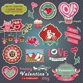 Collection of valentine design and wedding labels, elements with retro vintage styled design