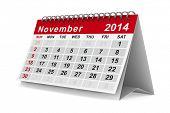 2014 jaarkalender. November. Geïsoleerde 3D-beeld
