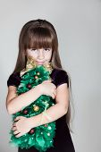 ?aucasian Six Year Old Girl With Christmas Tree