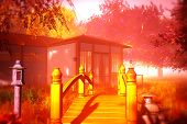 Traditional Japanese House and Bridge in Japanese Garden 3D render