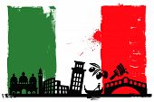 image of gondola  - Illustration of the Italy flag and silhouettes - JPG