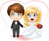 stock photo of chibi  - A vector illustration of a bride and groom dressed for their wedding day - JPG