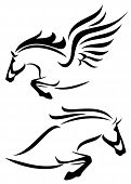 stock photo of winged-horse  - black and white vector outlines of jumping horse and pegasus - JPG