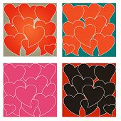 A Set Of Four Heart Backgrounds