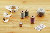 Reels Of Thread, Tapeline,  Thimble And Needles