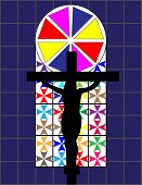Black Cross On The Colorful Cristal Wall In The Temple