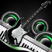 Black Guitar Hexagons Background