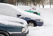 Cars Stand Outdoor Parking Blizzard Snow Winter
