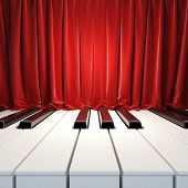Piano Keys and red curtains. A 3d illustration of blank template layout surface from piano keys and