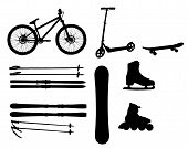 stock photo of skate board  - sports Equipment silhouette vector illustration - JPG
