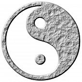 pic of ying yang  - 3d stone tao symbol isolated in white - JPG