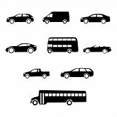 image of moving van  - Set of clean black vector vehicle silhouettes - JPG