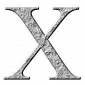 stock photo of letter x  - 3d stone Greek letter Chi isolated in white - JPG