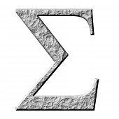 3D letra pedra grega Sigma