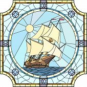 image of galleon  - Vector mosaic with large cells of sailing ships of the 17th century in round stained - JPG